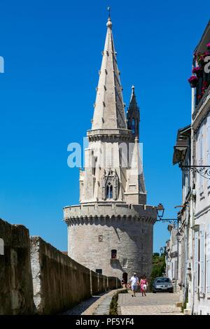 La Tour de la Lanterne or Tower of the Lantern in the Vieux Port in La Rochelle on the coast of the Poitou-Charentes region of France. - Stock Image