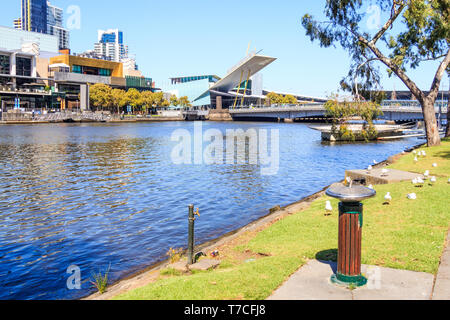 Melbourne, Australia - 20th March 2013: View of the Yarra River from Batman Park. The Melbourn Exhibition Centre is across the river. - Stock Image