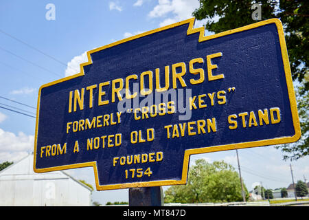 A sign at the edge of the village of Intercourse, Lancaster County, Amish Country, Pennsylvania, USA - Stock Image