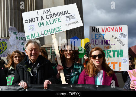London, UK . 17th Mar, 2019. Lord Alf Dubs and Bronagh Waugh is a Northern Irish actress star in Hollyoaks join London-Irish Abortion Rights Campaign join The colourful St Patrick Parade days 2017 was watched by thousands who line up the streets from Piccadilly to Trafalgar Square where speeches were made and a show with music and dane was given to the thousands who packed the square to celebrate St Patrick day 2019 on 17 March 2019, London, UK. Credit: Picture Capital/Alamy Live News - Stock Image