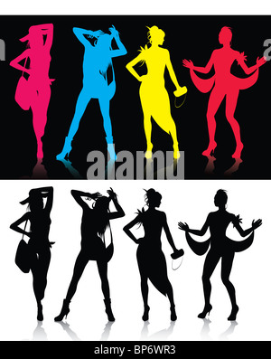 Fashion Model Silhouettes - Stock Image