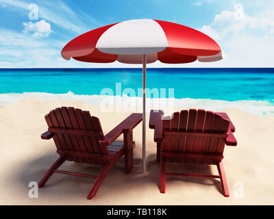 Umbrella and two sunbeds standing on the beach by the seashore. 3D illustration. - Stock Image
