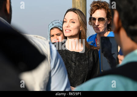 Hollywood actress and humanitarian Angelina Jolie, a special envoy for the United Nations High Commissioner for Refugees (UNHCR), visits Rohingya refugee camp at Kutupalong in Ukhia, southern Bangladesh on February 5, 2019. © Rehman Asad/Alamy Stock Photo - Stock Image