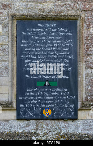 Memorial plaque to the 305th Bombardment Group, US Air Force, on the tower of St John the Baptist church, Chelveston, UK - Stock Image
