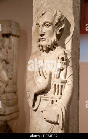 Medieval marble carving of Saint Peter dated 1150 to 1170 AD now in Rolin Museum Autun France - Stock Image