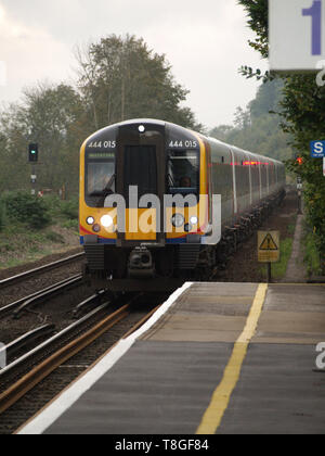 South West Trains carriages at Shawford Railway Station,Hampshire, England, UK - Stock Image