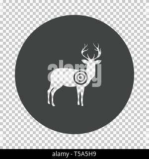 Deer silhouette with target  icon. Subtract stencil design on tranparency grid. Vector illustration. - Stock Image