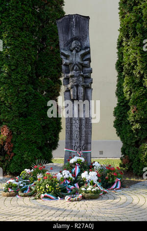 monument dedicated to the 1956 hungarian revolution against the soviet union laenti zala county hungary - Stock Image
