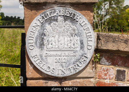 Fields in Trust plaque at Streatley Meadow, Streatley, Berkshire, England, GB, UK - Stock Image