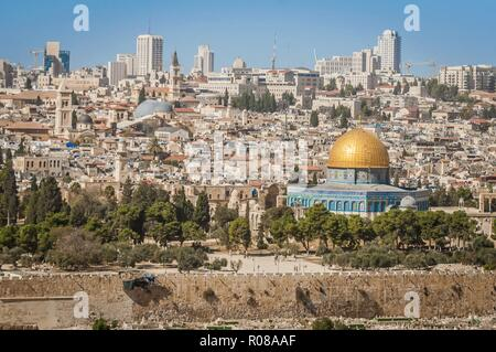 JERUSALEM, ISRAEL. October 30, 2018. A view of the Temple Mount with a Dome of the Rock in the center. It is an Islamic shrine located in the Old City - Stock Image