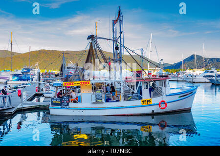 The Prawn Star seafood restaurant boat in Cairns Marina, Far North Queensland, FNQ, QLD, Australia - Stock Image