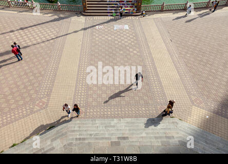 Pedestrians from above Plaza de Espana, Seville, Spain - Stock Image