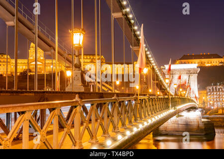 Night view of the famous Széchenyi Chain Bridge with Buda Castle at Budapest, Hungary - Stock Image