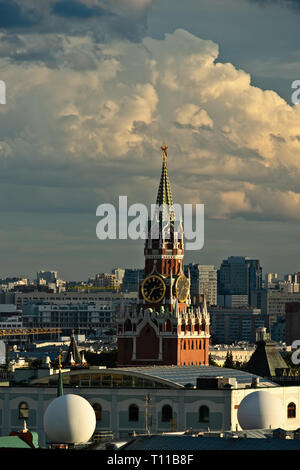 MOSCOW, AUGUST 7, 2018: Beautiful view of Moscow city and Spassky – Savior's – tower of Moscow Kremlin at summer sunset. Vertical photo - Stock Image
