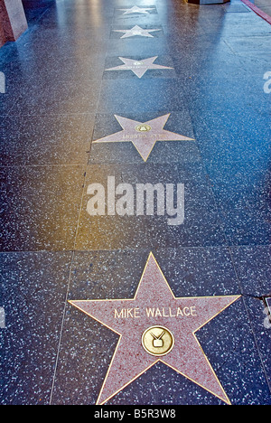Hollywood, Walk of Fame Stars Mike Wallace Los Angeles, California, United States, CA - Stock Image