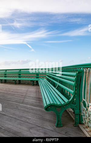 The green benches on St Annes on Sea Pier Fylde Coast Febaurry 2019 - Stock Image