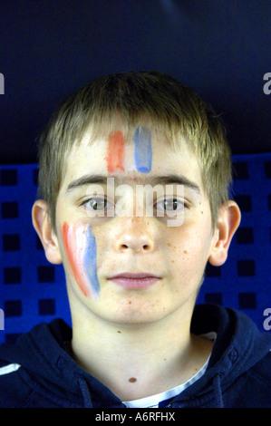 boy portrait french football fan teenager - Stock Image