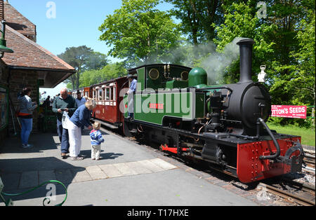 The Lynton and Barnstaple Railway, Woody Bay Railway Station, Woody Bay, Devon, England, UK - Stock Image