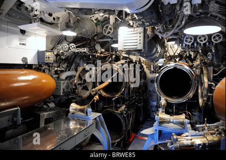 Torpedo tubes on the USS Bowfin submarine. USS Bowfin Submarine Memorial, Pearl Harbor, Hawaii - Stock Image