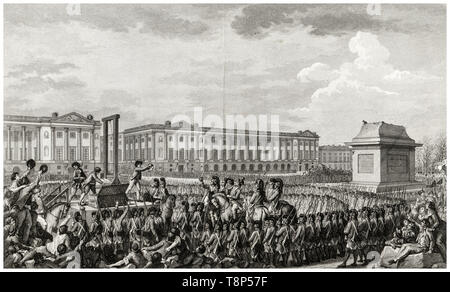 French Revolution. Execution of Louis XVI. 21 January 1793 the death of Louis Capet (Louis XVI) by Guillotine in the Place de la Revolution, Paris, engraving 1794 - Stock Image