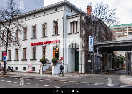 Berlin Moabit, Moabiter Apotheke. Pharmacy building exterior in Alt-Moabit 18 - Stock Image