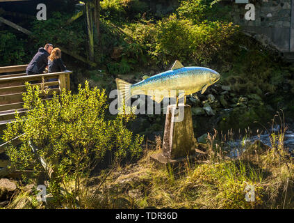 Sept. 17, 2018 - Ketchikan, Alaska: Couple overlooking Ketchikan Creek at the mosaic Yeltatzie Salmon sculpture, created by local artist Terry Pyles. - Stock Image
