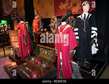 Quidditch gear and uniforms, at the Making of Harry Potter Studio Tour, Warner Brothers Studio, Leavesdon - Stock Image