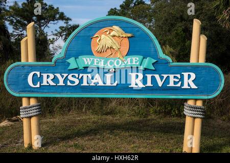 Welcome sign, Crystal River, Florida, USA - Stock Image