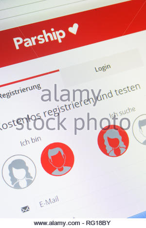 Cologne, Germany - January 24 2019: german registration screen of the online dating website parship - Stock Image