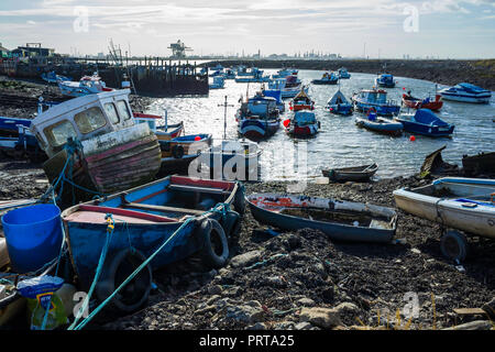 Fishing boats in Paddys Hole Harbour, Teesmouth, Redcar Cleveland UK - Stock Image