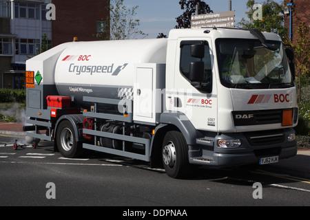 BOC Cryospeed Liquid Nitrogen Delivery. - Stock Image