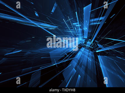 Computer generated abstract tehnology 3D illustration. Three-dimensional 3D fractal, texture - Stock Image