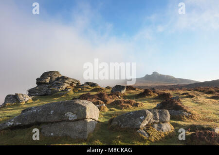 View from Holwell Tor to Haytor on Dartmoor - Stock Image