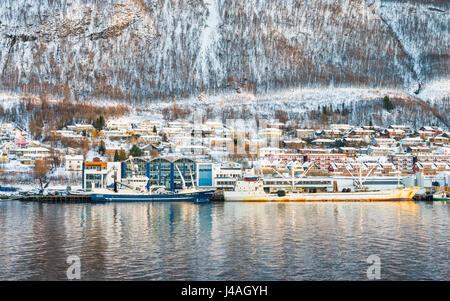 The Gammelgården district of the city of Tromsø, Norway, seen from a Hurtigruten Coastla Express cruise - Stock Image