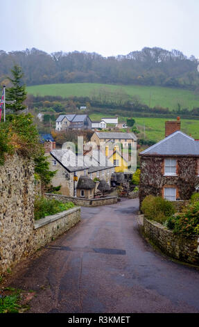 The famous Masons Arms Inn pub and hotel in Branscpmbe village in East Devon UK - Stock Image