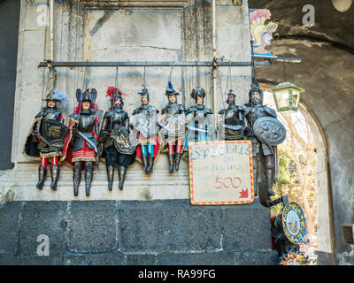 Traditional Sicilian marionette puppets in Catania, Sicily, Italy. - Stock Image