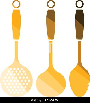 Ladle set icon. Flat color design. Vector illustration. - Stock Image
