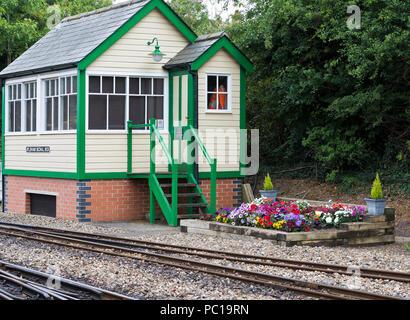 The signal box at the Bure Valley Railway, Aylsham, Norfolk. - Stock Image