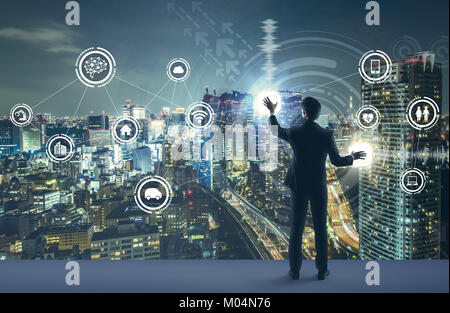 young business person and graphical user interface concept. Artificial Intelligence.  Internet of Things. Information - Stock Image
