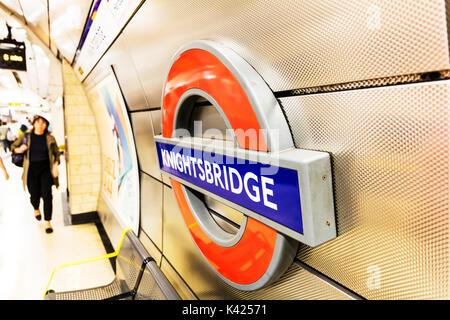 London Underground sign, London Underground Knightsbridge sign, Knightsbridge underground station sign, Knightsbridge underground station stations uk - Stock Image