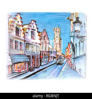 Street and Belfort in Bruges, Belgium - Stock Image