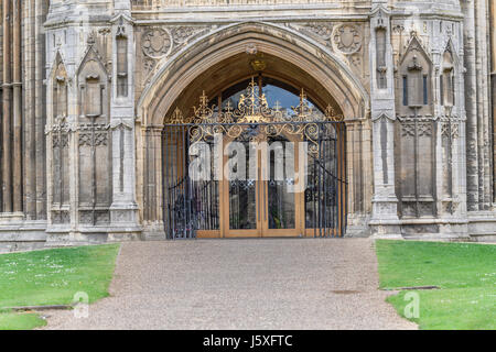 Entrance door at the west facade of the medieval christian cathedral at Peterborough, England. - Stock Image