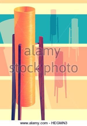 rocket lamp retro atomic mid century kitsch space age futuristic - Stock Image