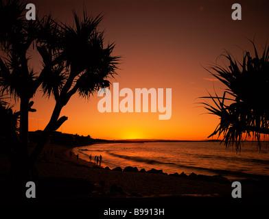 Sunset at Noosa main beach Queensland - Stock Image