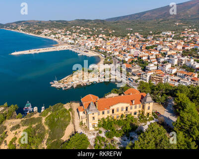 Postcard from Thassos. Aerial view of Limenaria Castle, now abandoned and Limenaria town and port - Stock Image