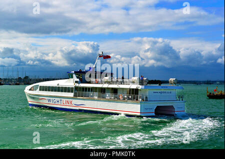 Wightlink's new ferry Victoria of Wight from Portsmouth Harbour and the Isle of Wight due to enter service in October 2018.  Hampshire, UK - Stock Image