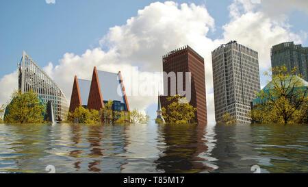 Flooded skyline of The Hague, Netherlands digital manipulation concept. - Stock Image