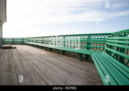 The benches on St Annes on Sea Pier Fylde Coast Febaurry 2019 - Stock Image