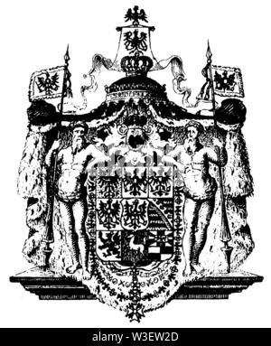 Coat of arms of Prussia, ,  (cultural history book, 1875) - Stock Image