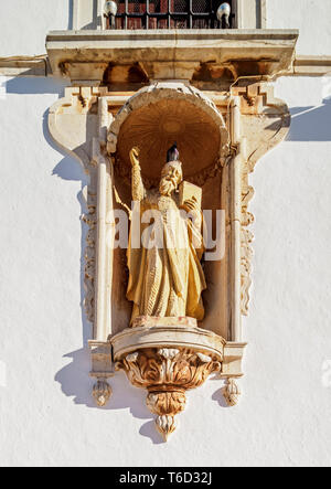 Carmo Church, detailed view, Largo do Carmo, Faro, Algarve, Portugal - Stock Image